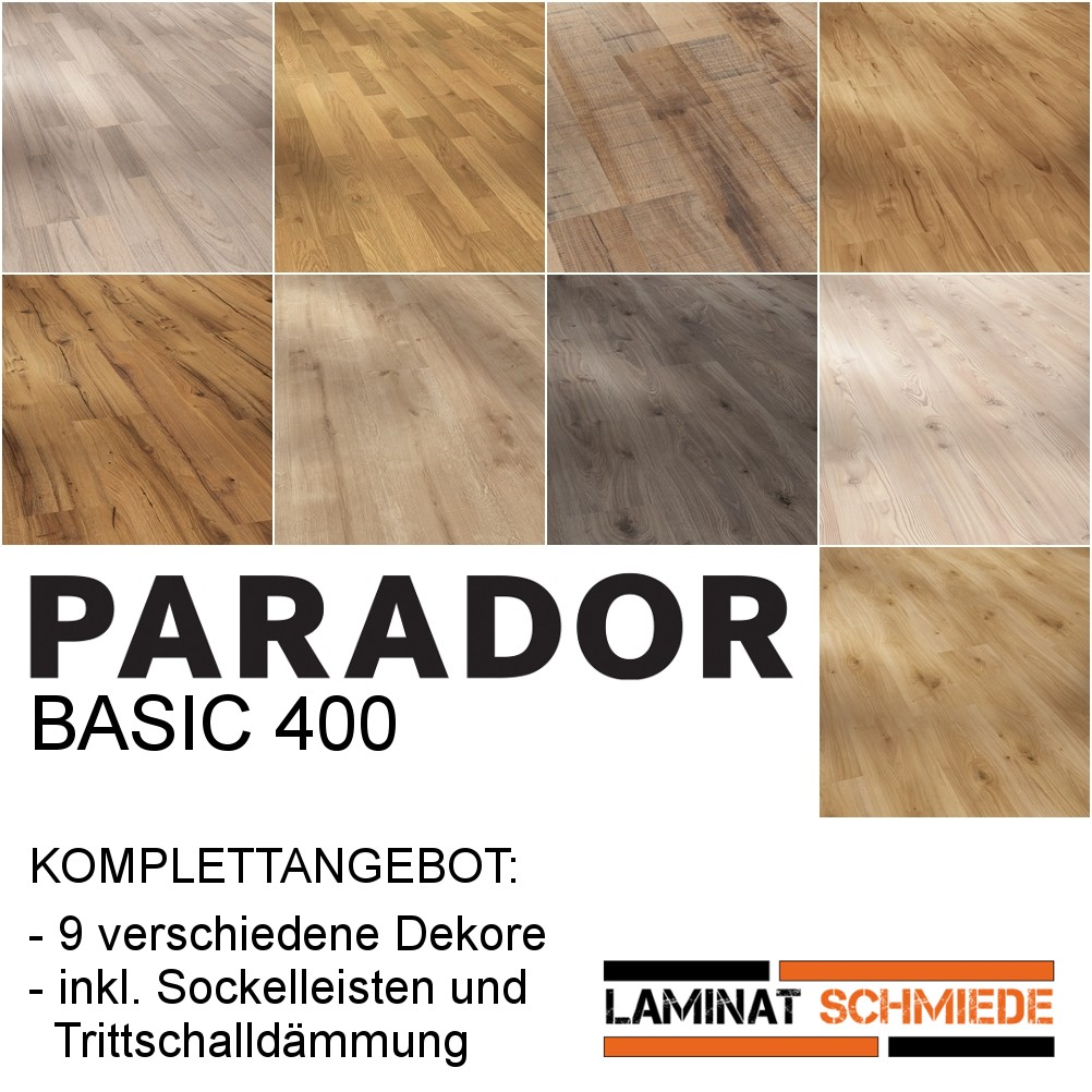 parador komplettangebot laminat basic 400 in 9 dekoren laminat komplettangebote. Black Bedroom Furniture Sets. Home Design Ideas